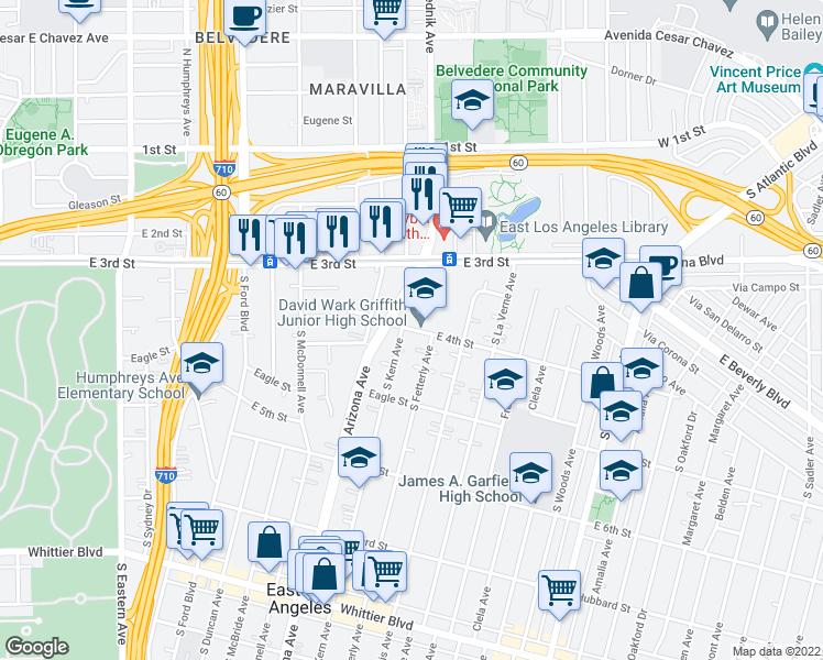 map of restaurants, bars, coffee shops, grocery stores, and more near 419 South Fetterly Avenue in East Los Angeles