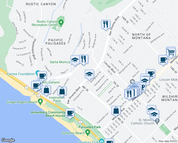 map of restaurants, bars, coffee shops, grocery stores, and more near 515 San Vicente Boulevard in Santa Monica