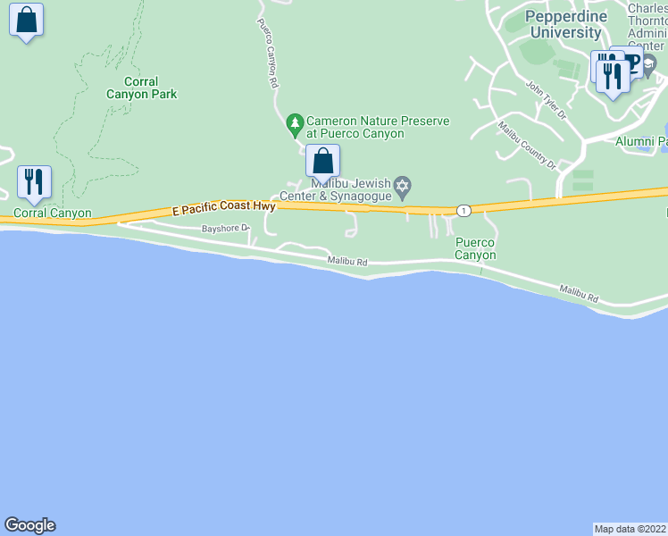 map of restaurants, bars, coffee shops, grocery stores, and more near 25036 Malibu Road in Malibu