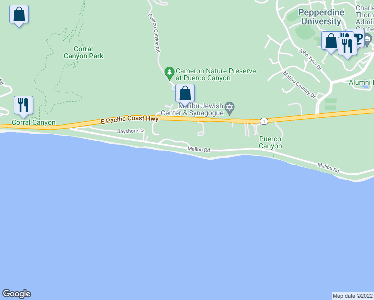 map of restaurants, bars, coffee shops, grocery stores, and more near 25102 Malibu Road in Malibu