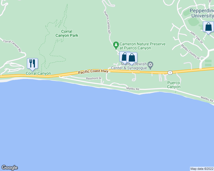map of restaurants, bars, coffee shops, grocery stores, and more near 25218 Malibu Road in Malibu