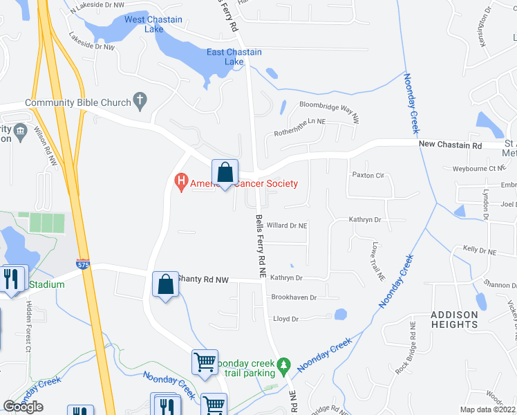 map of restaurants, bars, coffee shops, grocery stores, and more near Bells Ferry Road in Cobb County