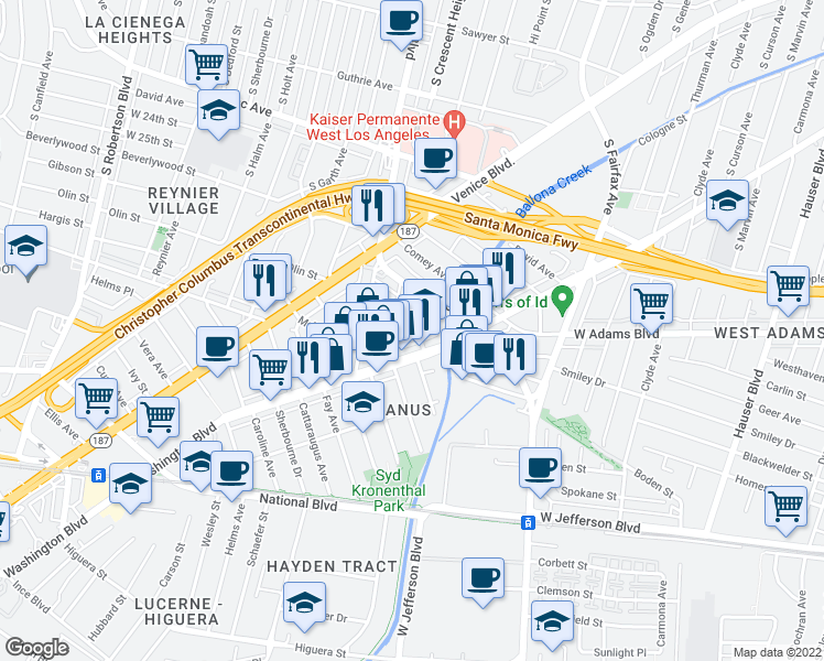 map of restaurants, bars, coffee shops, grocery stores, and more near 6077 Hargis Street in Los Angeles