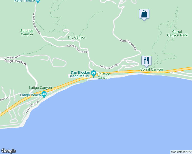 map of restaurants, bars, coffee shops, grocery stores, and more near 26122 Pacific Coast Highway in Malibu