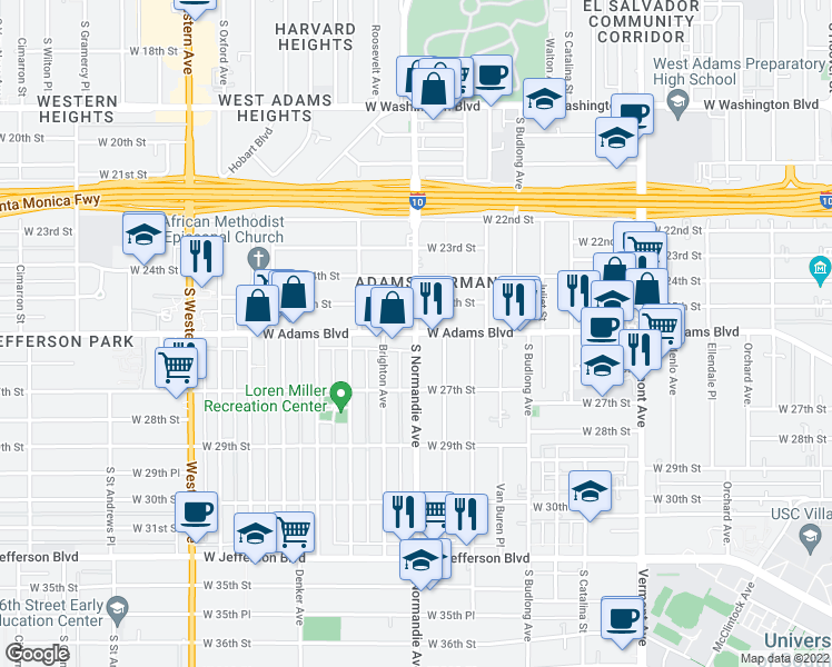 map of restaurants, bars, coffee shops, grocery stores, and more near S Normandie Ave & W Adams Blvd in Los Angeles