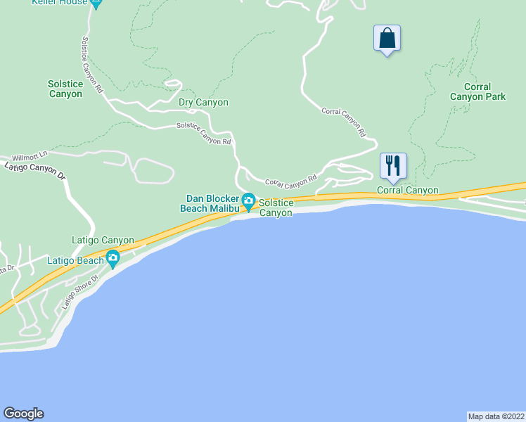 map of restaurants, bars, coffee shops, grocery stores, and more near 26060 Pacific Coast Highway in Malibu