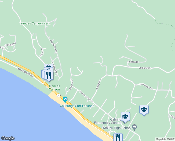 map of restaurants, bars, coffee shops, grocery stores, and more near 6282 Sea Star Drive in Malibu
