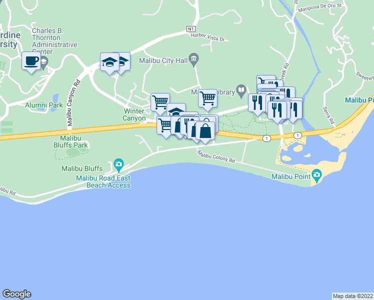 map of restaurants, bars, coffee shops, grocery stores, and more near 23762 Malibu Road in Malibu