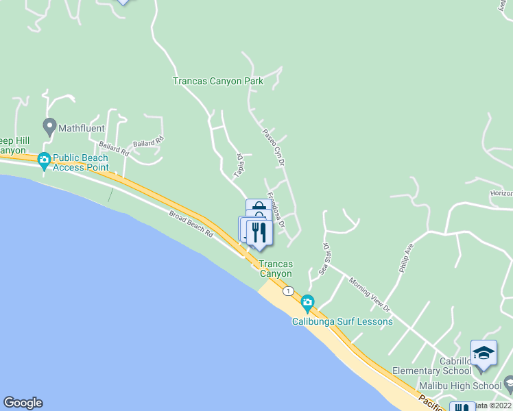 map of restaurants, bars, coffee shops, grocery stores, and more near 6364 Trancas Canyon Road in Malibu