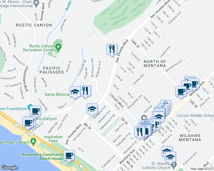 map of restaurants, bars, coffee shops, grocery stores, and more near 815 San Vicente Boulevard in Santa Monica