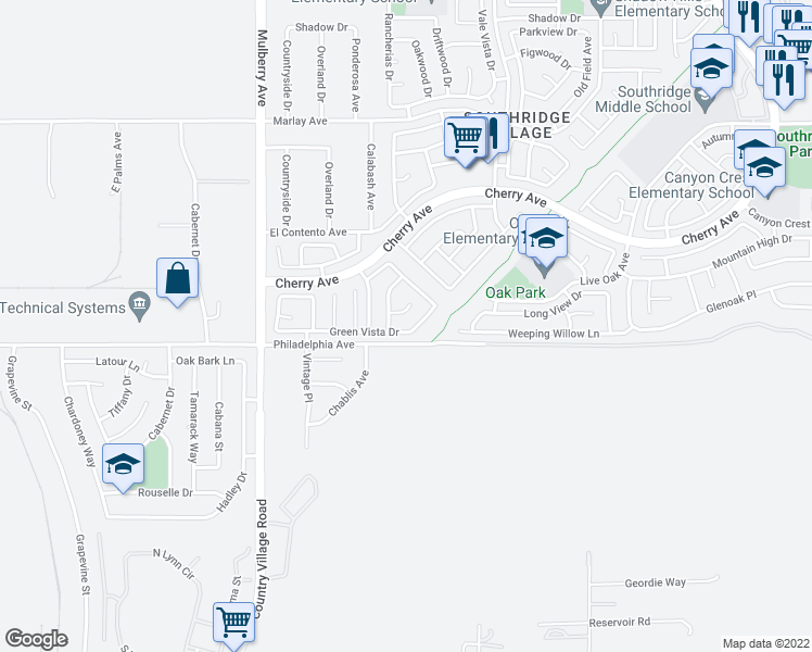 map of restaurants, bars, coffee shops, grocery stores, and more near 13960 Green Vista Drive in Fontana