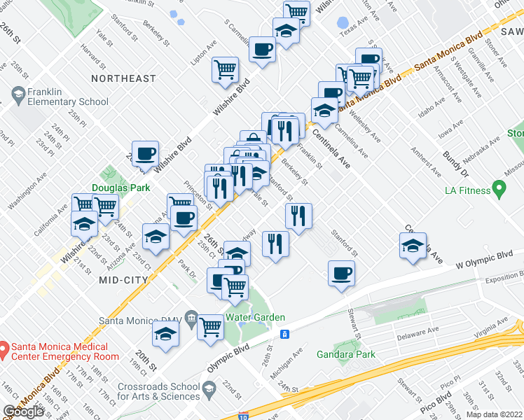 map of restaurants, bars, coffee shops, grocery stores, and more near 1446 Yale Street in Santa Monica