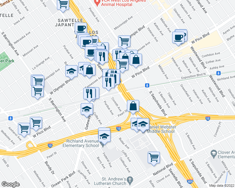 map of restaurants, bars, coffee shops, grocery stores, and more near 2403 Sawtelle Boulevard in Los Angeles