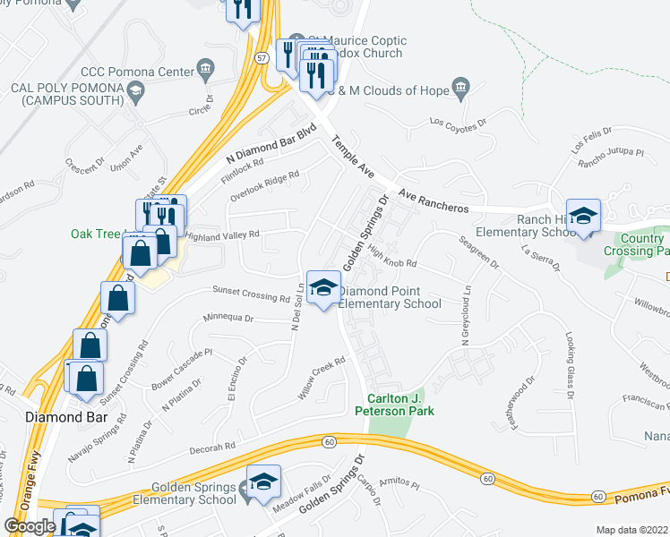 map of restaurants, bars, coffee shops, grocery stores, and more near 901 Golden Springs Drive in Diamond Bar