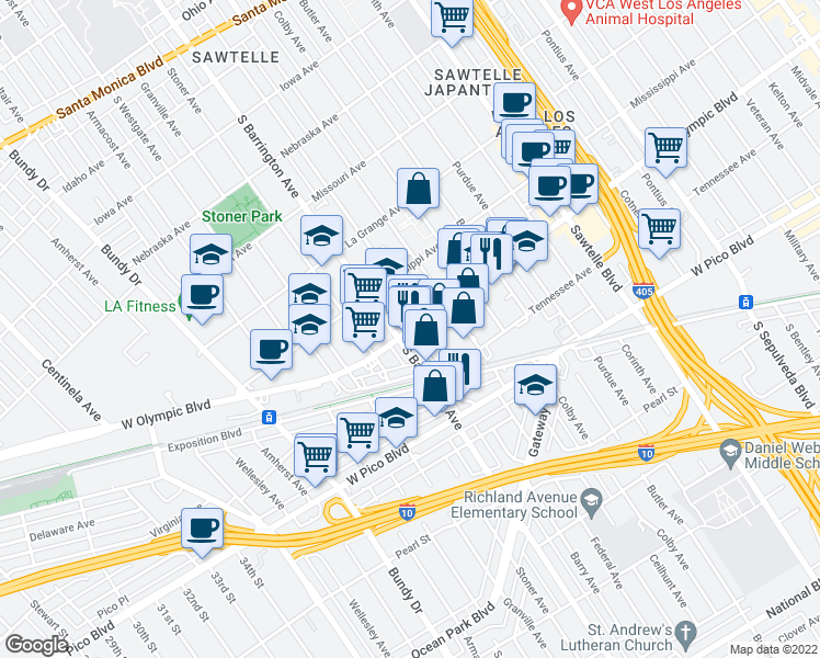 map of restaurants, bars, coffee shops, grocery stores, and more near 11656 West Olympic Boulevard in Los Angeles
