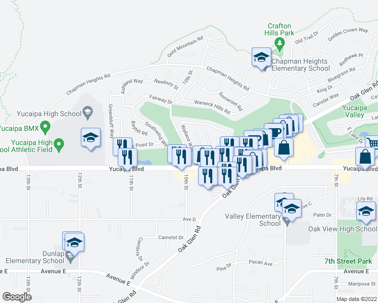map of restaurants, bars, coffee shops, grocery stores, and more near 33325 Wallace Way in Yucaipa