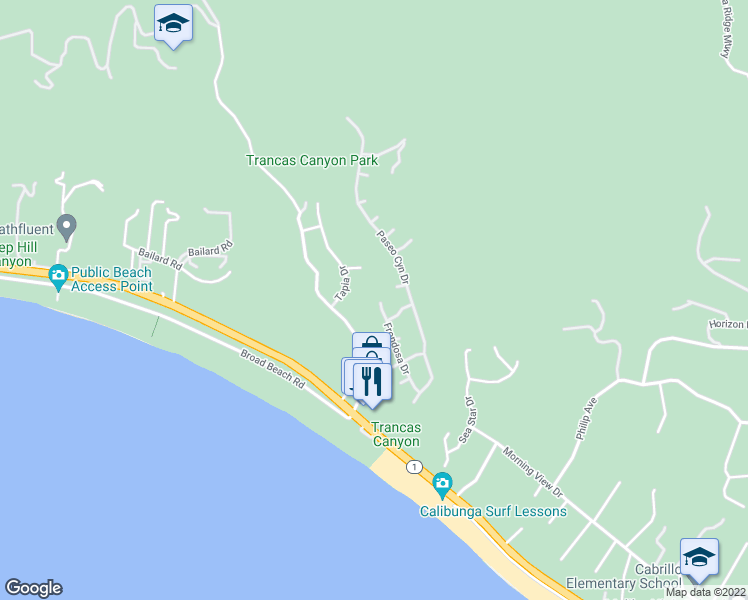 map of restaurants, bars, coffee shops, grocery stores, and more near 6205 Frondosa Drive in Malibu