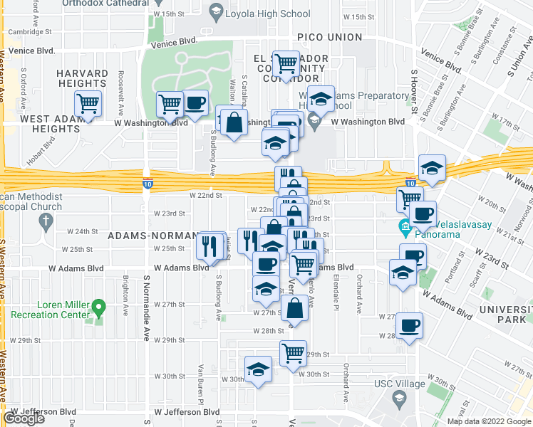 map of restaurants, bars, coffee shops, grocery stores, and more near 1546 West 22nd Place in Los Angeles