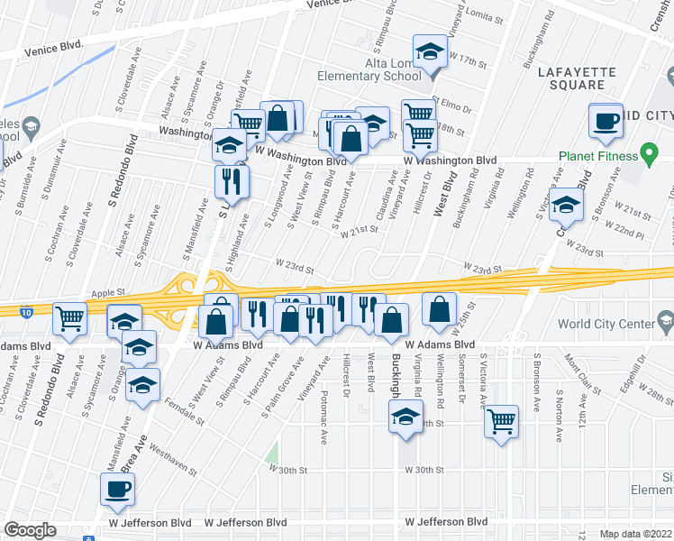 map of restaurants, bars, coffee shops, grocery stores, and more near 2212 South Palm Grove Avenue in Los Angeles