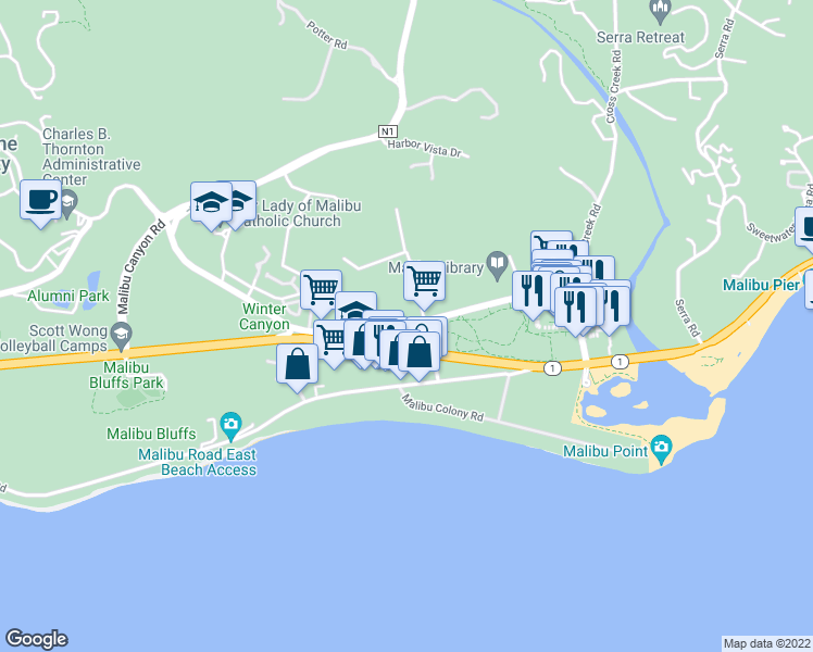 map of restaurants, bars, coffee shops, grocery stores, and more near Civic Center Way in Malibu
