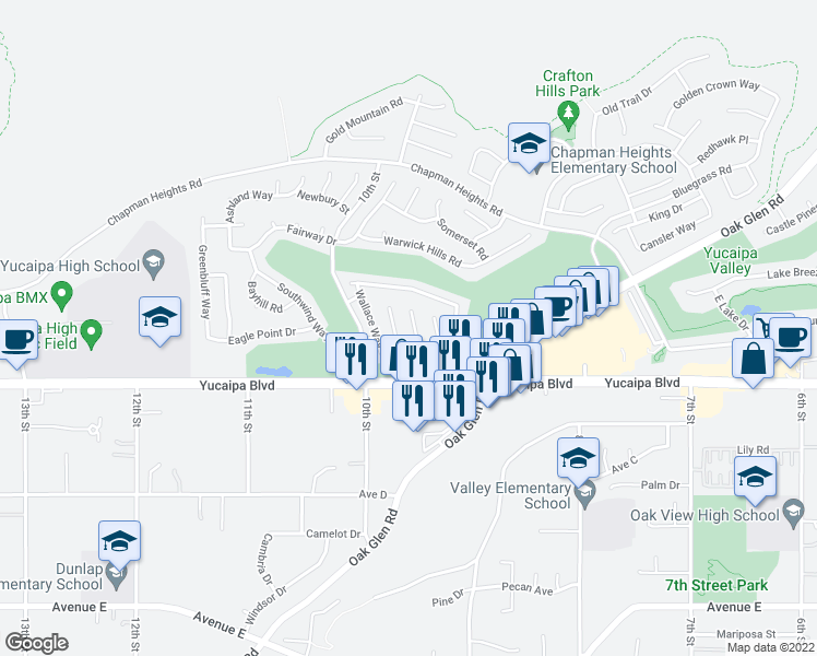 map of restaurants, bars, coffee shops, grocery stores, and more near 11964 Limestone Court in Yucaipa