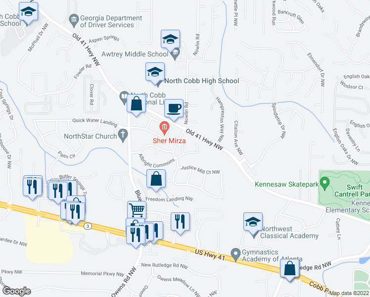 map of restaurants, bars, coffee shops, grocery stores, and more near 3112 Union Hill Court in Kennesaw