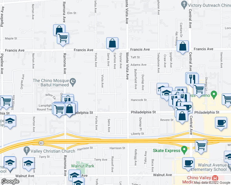 map of restaurants, bars, coffee shops, grocery stores, and more near Carlisle Avenue in Chino