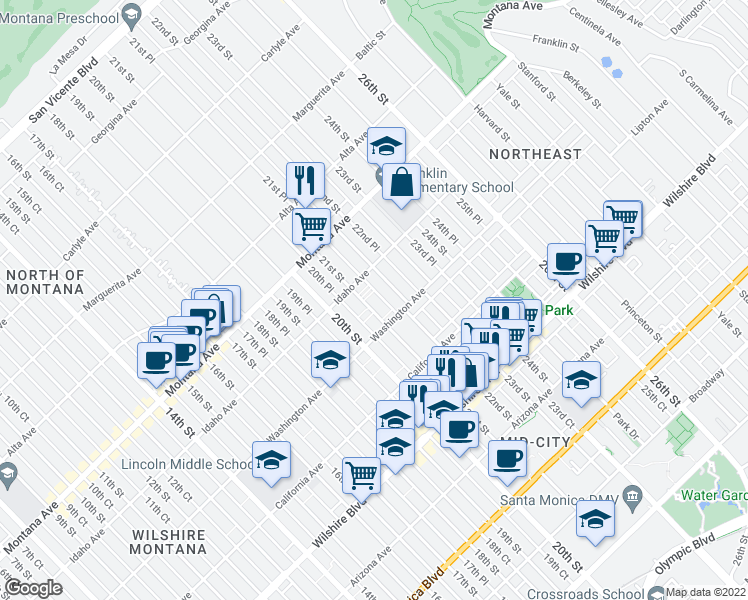 map of restaurants, bars, coffee shops, grocery stores, and more near 927 21st Street in Santa Monica