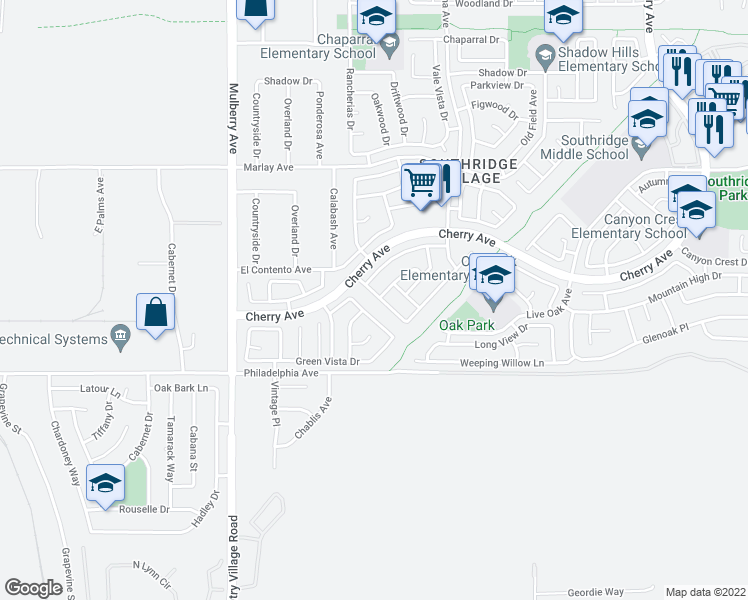 map of restaurants, bars, coffee shops, grocery stores, and more near 11958 Rancherias Drive in Fontana