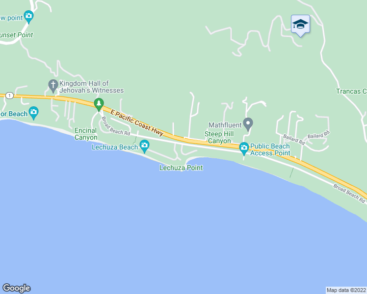 map of restaurants, bars, coffee shops, grocery stores, and more near 31528 Broad Beach Road in Malibu