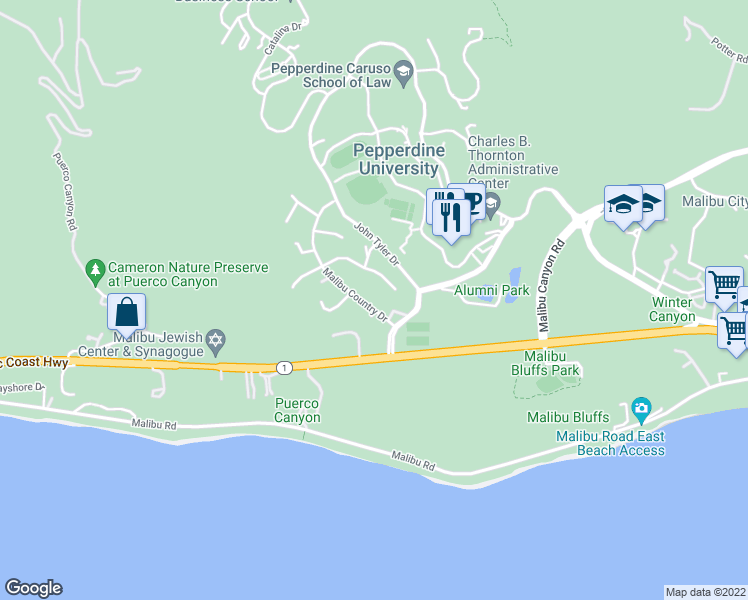 map of restaurants, bars, coffee shops, grocery stores, and more near 3824 Malibu Country Drive in Malibu