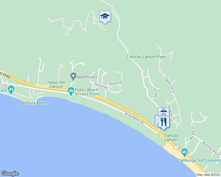map of restaurants, bars, coffee shops, grocery stores, and more near 6410 Lunita Road in Malibu