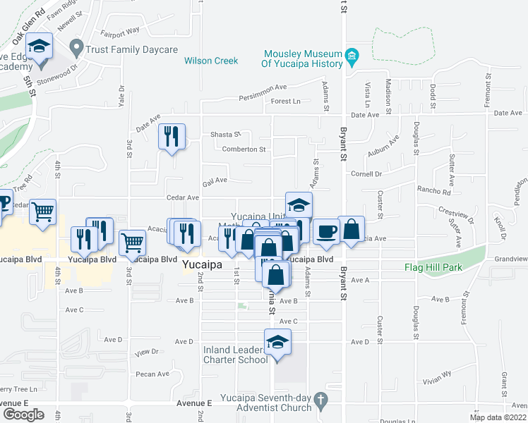 map of restaurants, bars, coffee shops, grocery stores, and more near 35078 Beech Avenue in Yucaipa