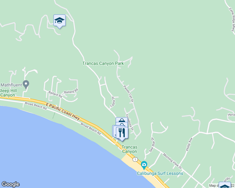 map of restaurants, bars, coffee shops, grocery stores, and more near 6216 Tapia Drive in Malibu