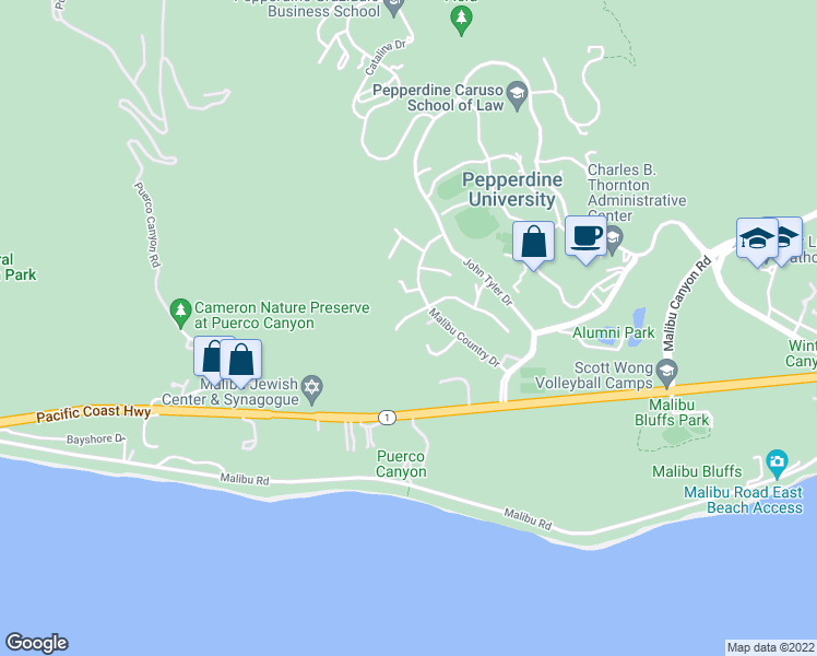 map of restaurants, bars, coffee shops, grocery stores, and more near 24728 Vantage Point Terrace in Malibu