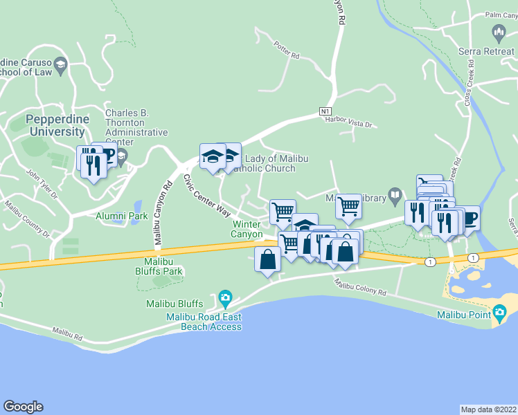 map of restaurants, bars, coffee shops, grocery stores, and more near 23927 De Ville Way in Malibu