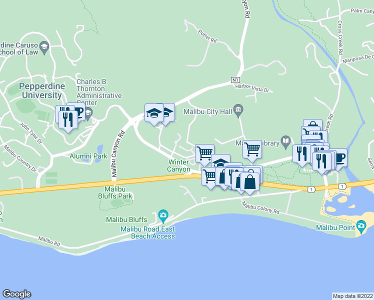 map of restaurants, bars, coffee shops, grocery stores, and more near 23929 De Ville Way in Malibu