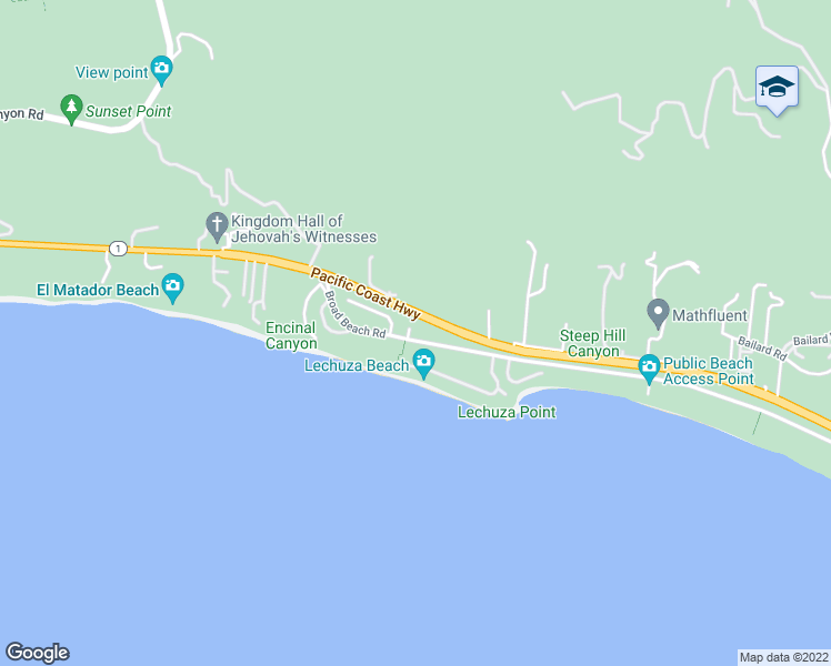 map of restaurants, bars, coffee shops, grocery stores, and more near 4908 Bunnie Lane in Malibu