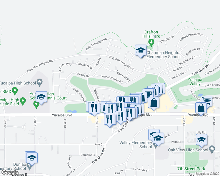 map of restaurants, bars, coffee shops, grocery stores, and more near 33421 Wallace Way in Yucaipa