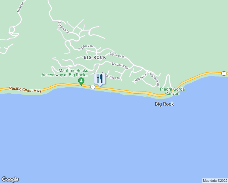 map of restaurants, bars, coffee shops, grocery stores, and more near 20300 Pacific Coast Highway in Malibu