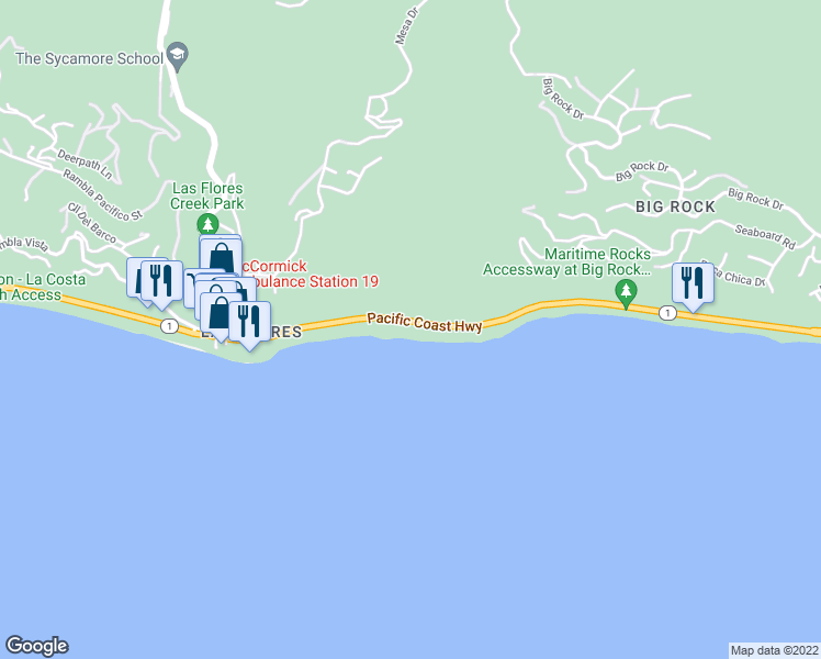 map of restaurants, bars, coffee shops, grocery stores, and more near 20900 Pacific Coast Highway in Malibu