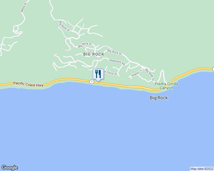 map of restaurants, bars, coffee shops, grocery stores, and more near 21010 Pacific Coast Highway in Malibu