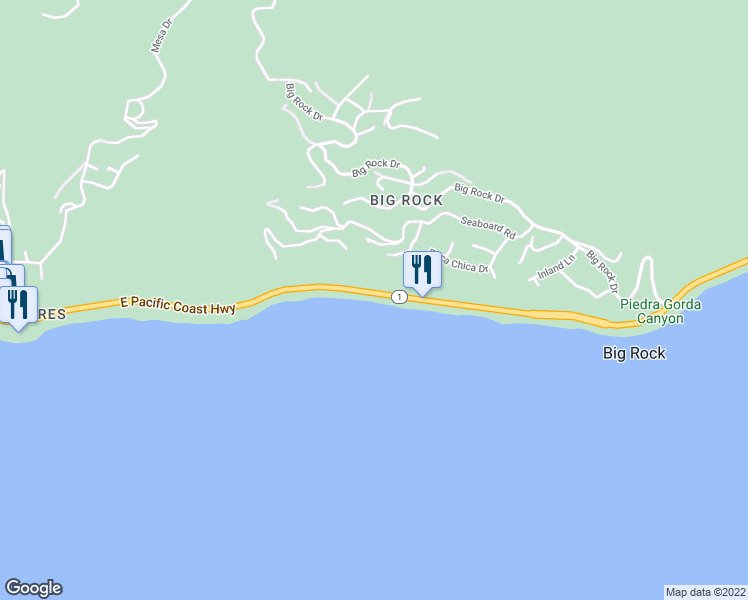 map of restaurants, bars, coffee shops, grocery stores, and more near 20458 Pacific Coast Highway in Malibu