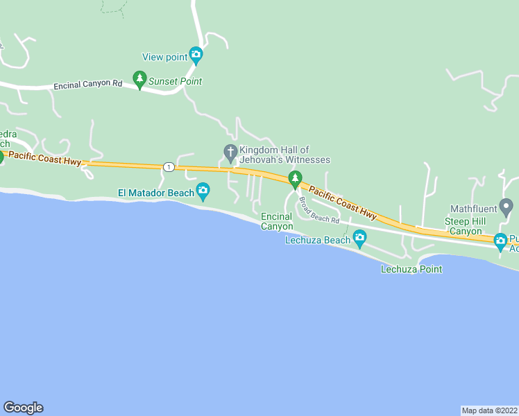 map of restaurants, bars, coffee shops, grocery stores, and more near 31952 East Pacific Coast Highway in Malibu