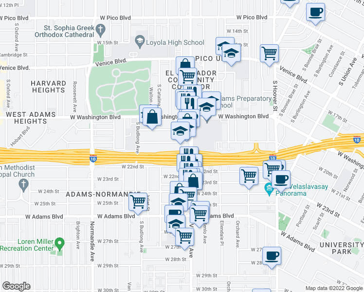 map of restaurants, bars, coffee shops, grocery stores, and more near 1640 West 20th Street in Los Angeles