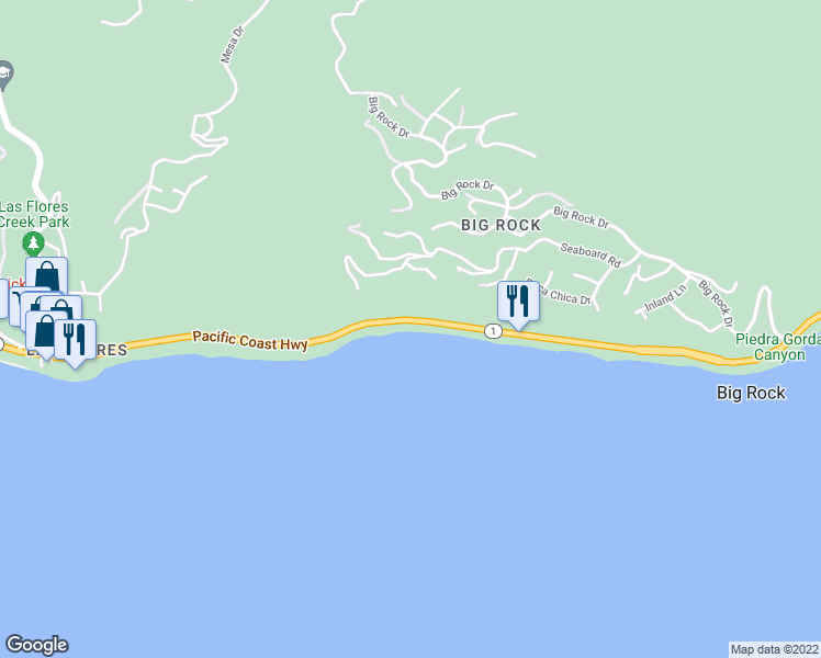 map of restaurants, bars, coffee shops, grocery stores, and more near 20558 Pacific Coast Highway in Malibu
