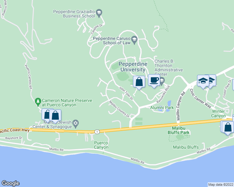 map of restaurants, bars, coffee shops, grocery stores, and more near 24600 Skyline View Drive in Malibu
