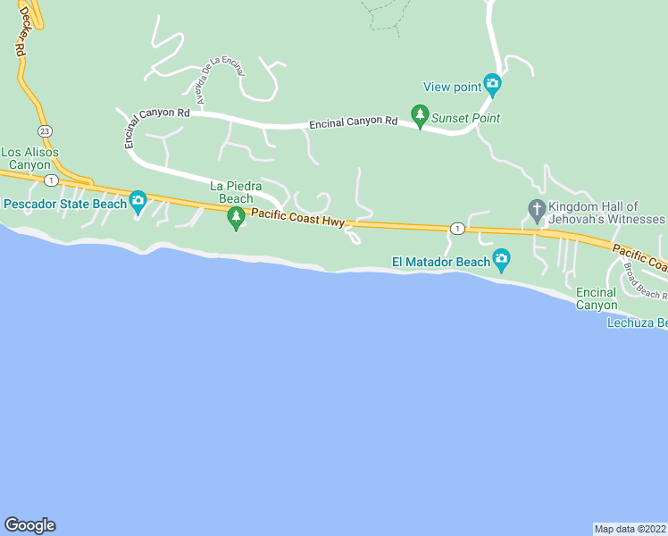 map of restaurants, bars, coffee shops, grocery stores, and more near 32506 Pacific Coast Highway in Malibu