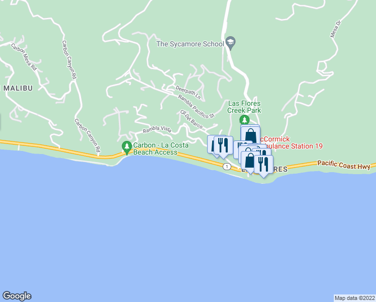 map of restaurants, bars, coffee shops, grocery stores, and more near 21465 Pacific Coast Highway in Malibu