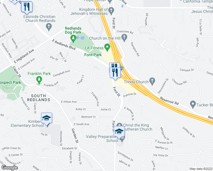 map of restaurants, bars, coffee shops, grocery stores, and more near 392 Los Robles Crescent in Redlands